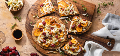 Sweet Potato Flatbreads with Roasted Grapes & Endive