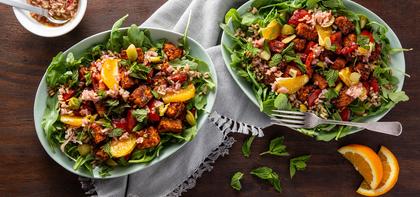 Piri Piri Tempeh with Farro & Arugula Citrus Salad