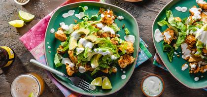Tofu Sofritas Tostadas with Lime Crema & Avocado
