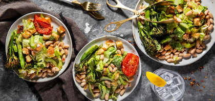 Roasted Broccolini Panzanella with Marinated White Beans & Ciabatta Croutons