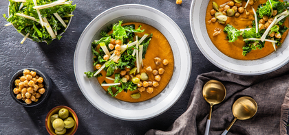 Harissa Butternut Bisque with Green Apple Slaw & Crispy Chickpeas