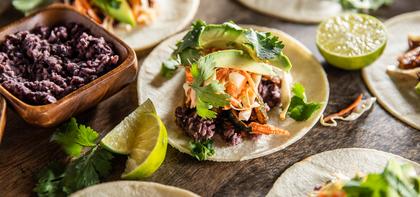 Black Bean Avocado Tacos with Smoky Zucchini & Lime Slaw