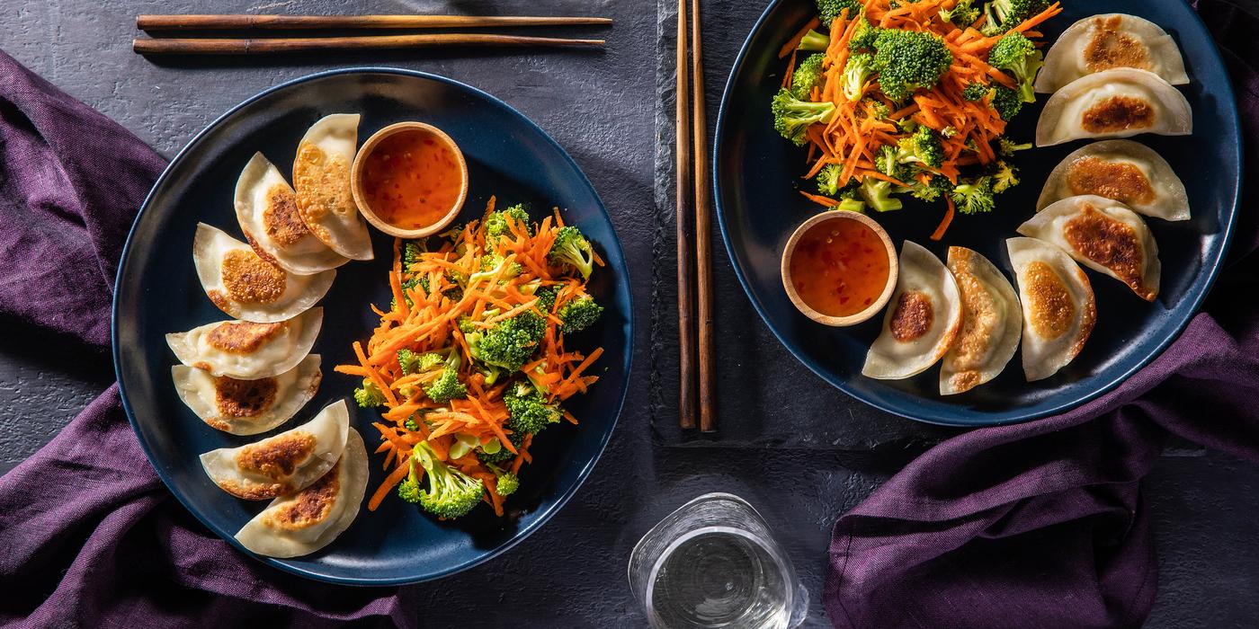 Tofu Edamame Dumplings with Broccoli Slaw & Sweet Chile Sauce