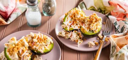 Stuffed Avocados with Tofu Salad & Crispy Onions