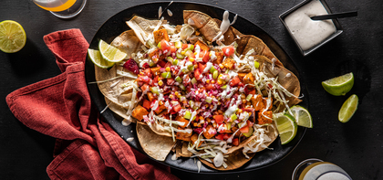 Buffalo Tempeh Nachos with Celery Salsa & Ranch Crema