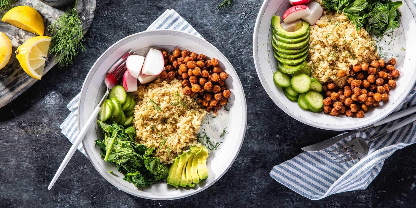 Smoky Chickpea & Kale Bowls with Dill Yogurt & Avocado