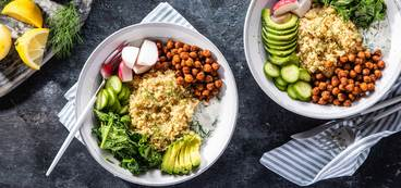 368 173 vegan smoky chickpea   kale bowls with dill yogurt   avocado hero
