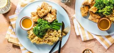 368 173 vegan za atar tofu tenders with broccolini   maple mustard dipping sauce hero