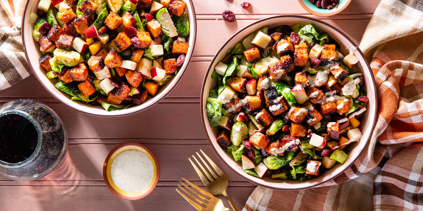 Rainbow Crunch Salads with Barbecue Tempeh & Herby Ranch