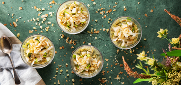 Matcha Overnight Oats with Pears & Crystalized Ginger