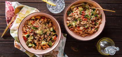 Chopped Greek Salads with White Beans & Fresh Mint