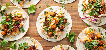 Korean Tofu Tacos with Kimchi Slaw & Cilantro