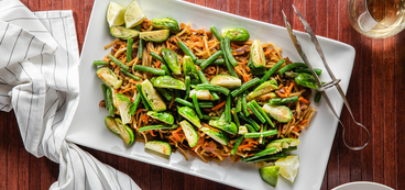 Seitan Pad Thai with Charred Green Beans & Brussels Sprouts