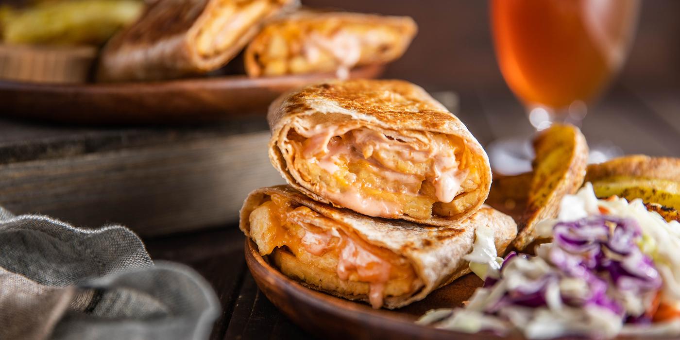 Tempeh Reuben Crunch Wraps with Thousand Island Dressing & Zesty Fries