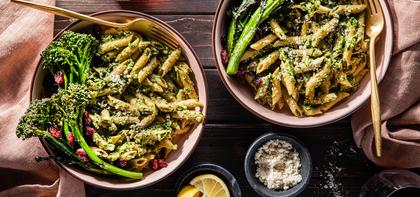 420 197 vegan sagewalnutpestopennewithcrispybroccolini horizontal
