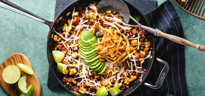 Fiesta Enchilada Skillet with Mole Black Beans & Avocado