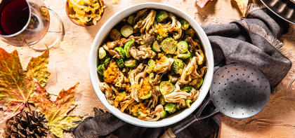 Roasted Brussels Sprouts with Oyster Mushrooms & Garlic Kimchi Butter