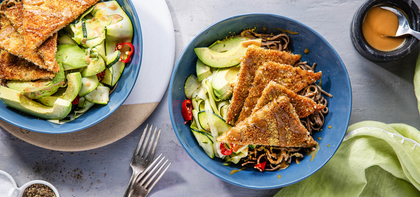 Panko-Crusted Tempeh with Lemon Zucchini Soba & Avocado