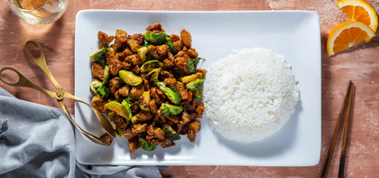 Orange Sesame Seitan with Charred Brussels Sprouts & Sticky Rice