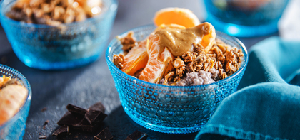 Overnight Chocolate Chia Pudding with Clementines & Cashew Butter