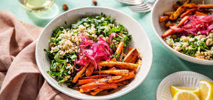 Hazelnut Barley Pilaf with Pan-Roasted Root Veggies & Harissa Butter