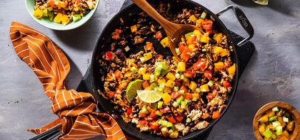 Mexican Black Bean Skillet with Tomatillo Citrus Salsa