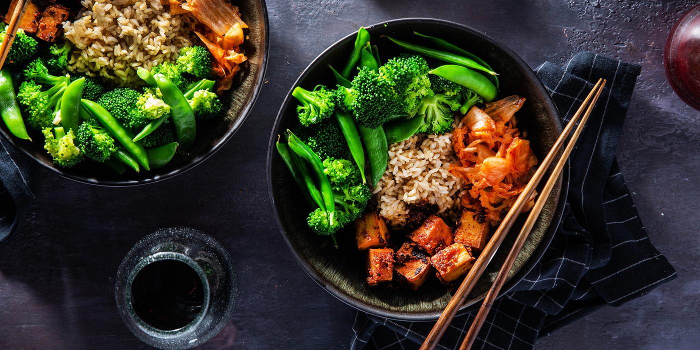Korean Tofu Bowls with Sugar Snap Peas & Kimchi