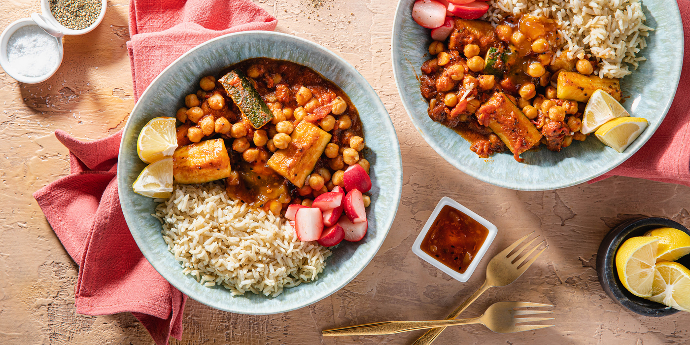 Chickpea Courgette Stew with Mango Chutney & Radishes