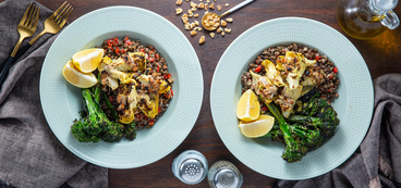 Walnut Crusted Artichokes with Dijon Lentils & Broccolini