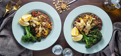 Walnut Crusted Artichokes with Dijon Lentils & Broccolini