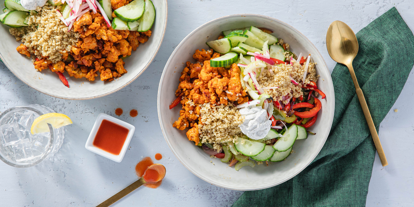 Buffalo Tempeh Quinoa Bowls with Roasted Peppers & Dill Sour Cream
