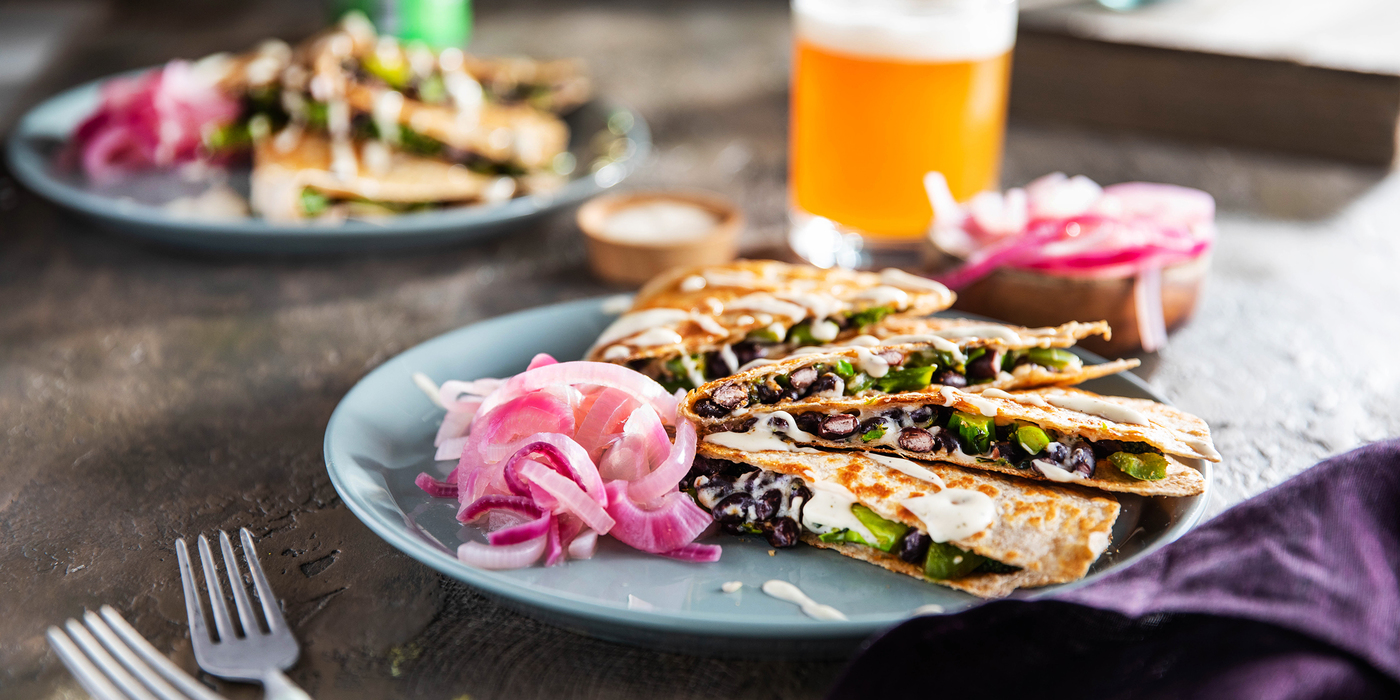 Hearty Green Quesadillas with Pickled Red Onion & Ranch Dressing
