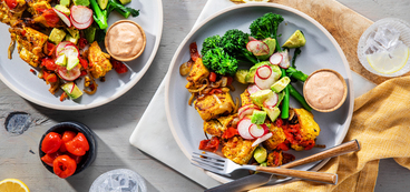 Spanish-Style Tofu with Avocado Radish Salad & Paprika Aioli
