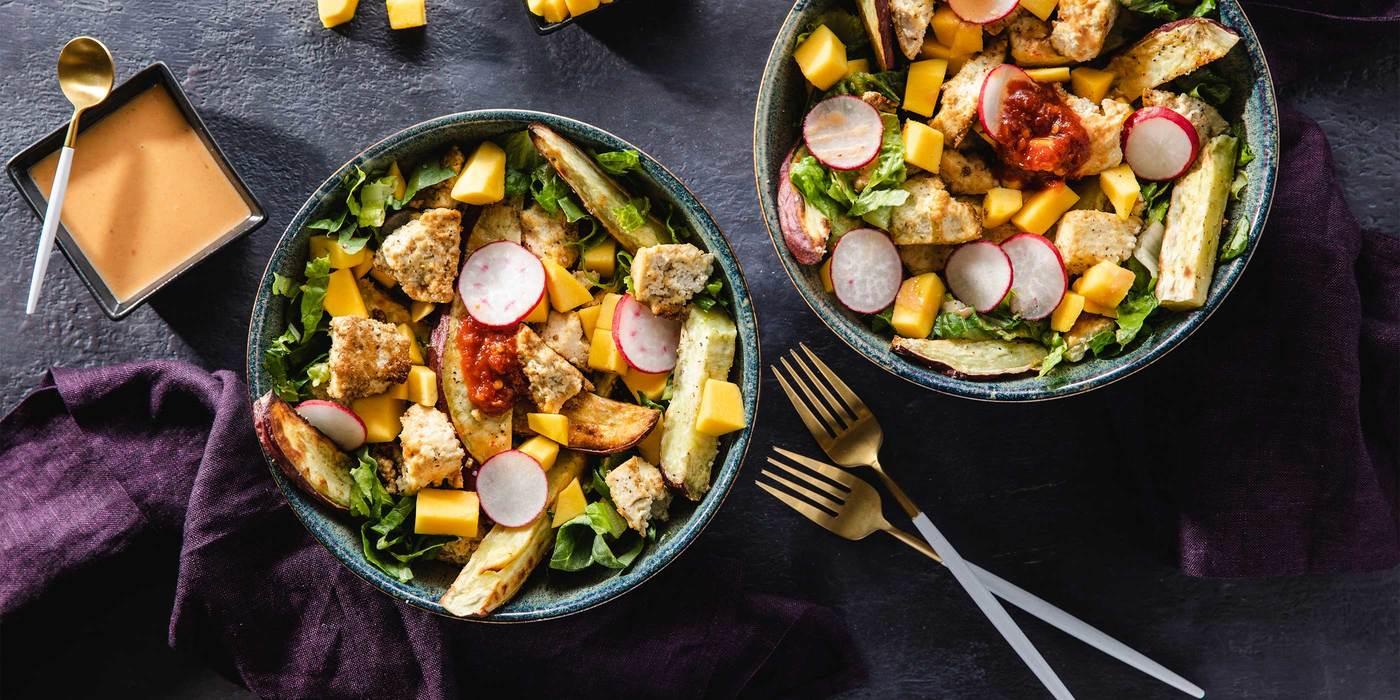 Thai Mango Salads with Coriander Tofu & Japanese Yam