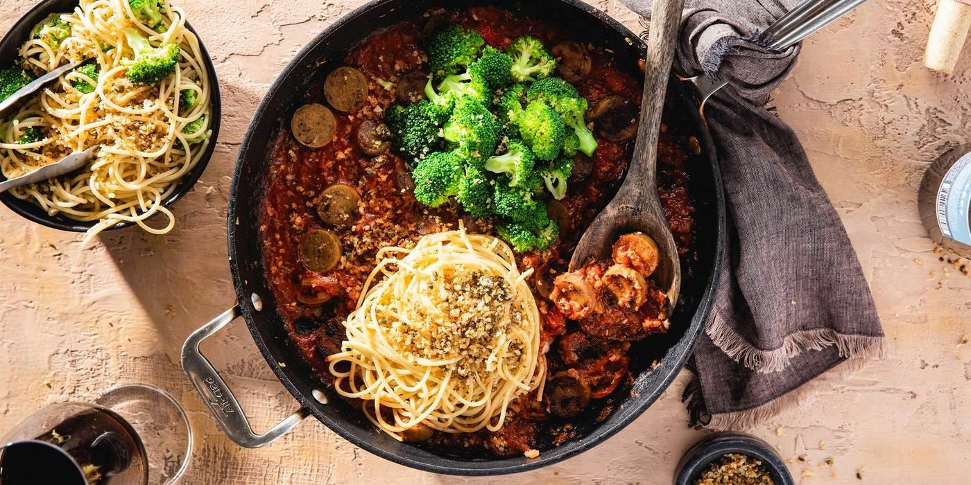 1400 700 vegan italian sausage skillet with broccoli   caper garlic breadcrumbs hero 1
