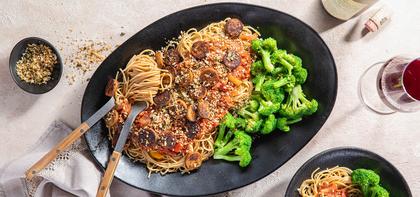 Italian Sausage Skillet with Broccoli & Caper Garlic Breadcrumbs
