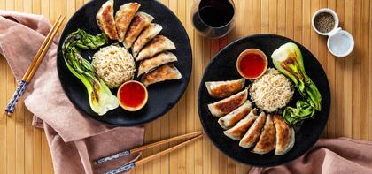 Mapo Tofu Dumplings with Bok Choy & Sweet Chile Sauce