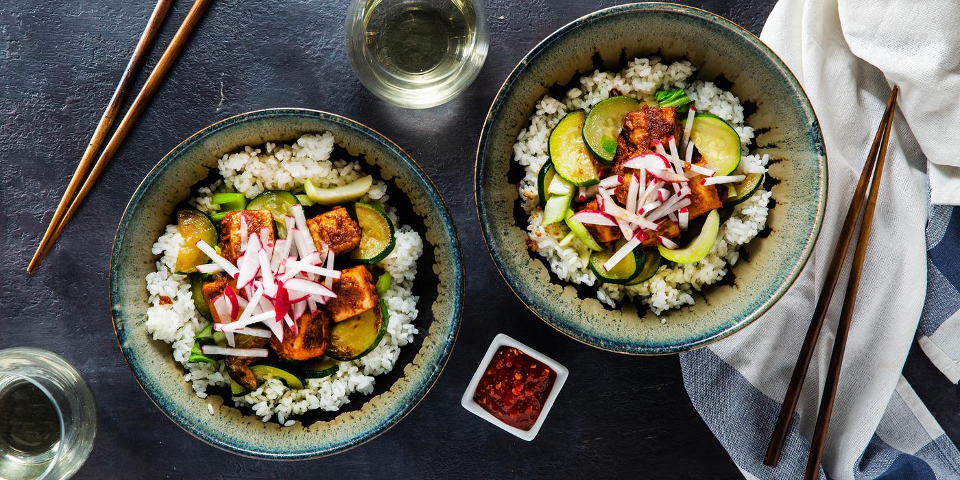 Almond Butter Tofu Bowls with Charred Zucchini & Bok Choy