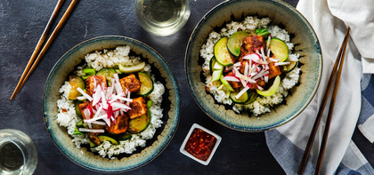 Almond Butter Tofu Bowls with Charred Zucchini & Bok Choy