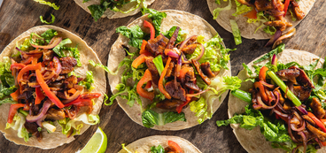 Vietnamese Shaking Beef Tacos with Roasted Peppers & Nuoc Cham