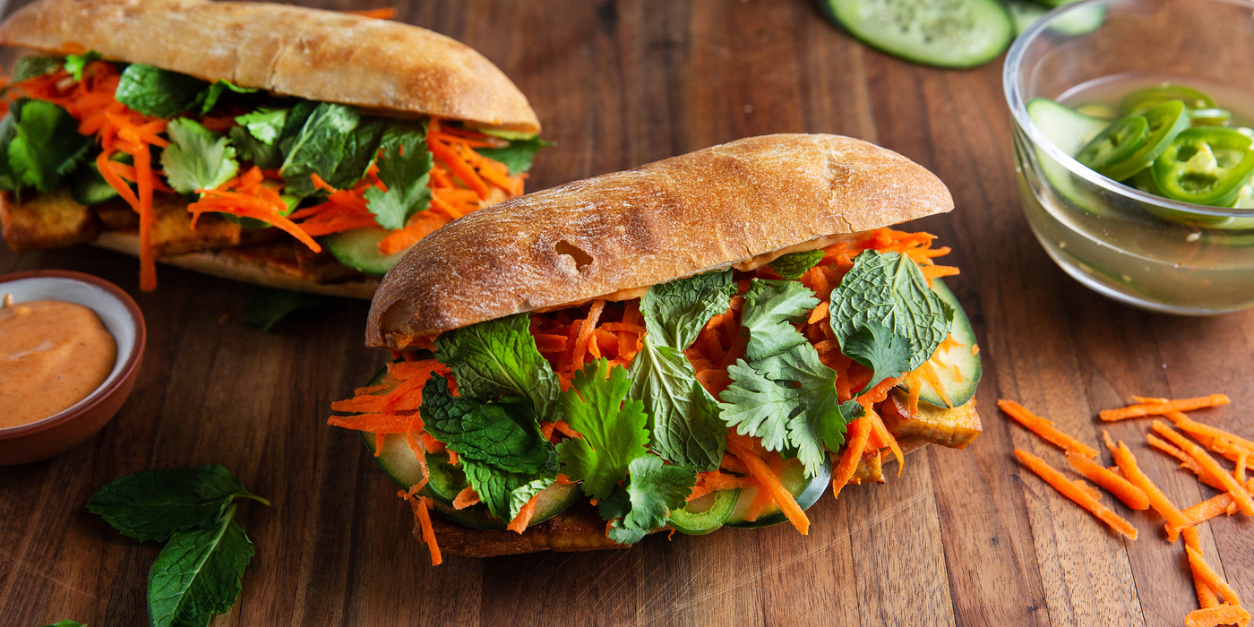 Banh Mi Sandwiches with Teriyaki Tofu & Quick Pickled Vegetables
