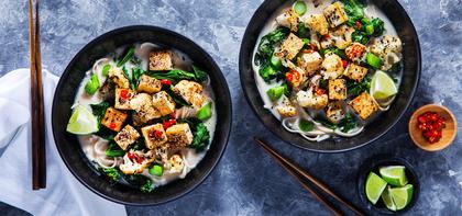 Cauliflower Coconut Ramen with Gai Lan & Udon Noodles