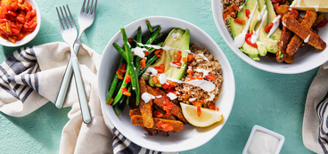 Smoky Tempeh Bowls with Garlicky Green Beans & Lemon Aioli