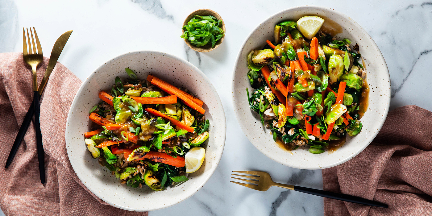 Pan-Roasted Brussels Sprouts with Miso Caramel & Almond Farro Pilaf