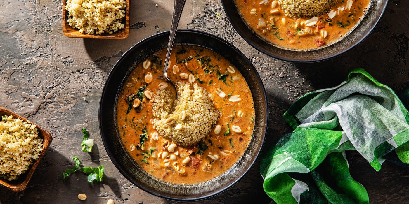 West African Peanut Stew with Swiss Chard & White Quinoa