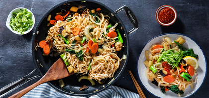 Indonesian Street Noodles with Eggplant & Gai Lan