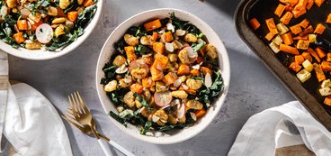 Winter Caesar Salads with Roasted Root Vegetables & Crispy Butter Beans