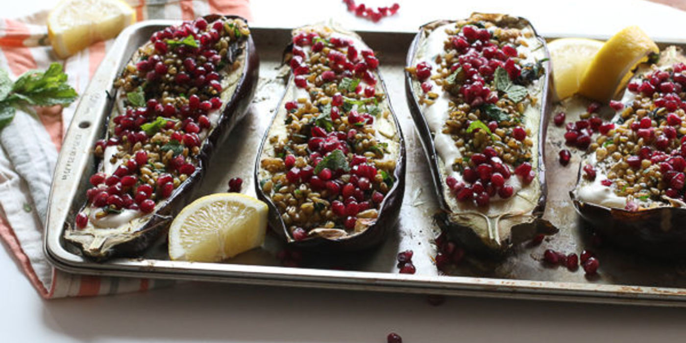 Roasted Eggplant over Freekeh with Spiced Cumin-Tahini Cream, Pomegranate Seeds and Mint