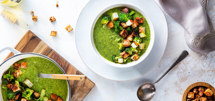 Broccoli Cheddar Soup with Miso Garlic Croutons