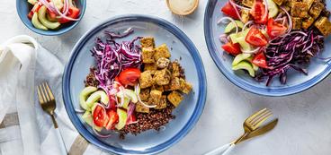 Halloumi Tofu Bowls with Cucumber Tomato Salad & Tahini Amba Dressing